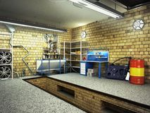 View of a Garage 3D Interior with Opened Roller Door 3D Renderin Royalty Free Stock Photos