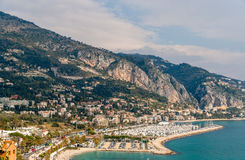 View of Garavan in Menton - French Riviera Stock Photo