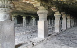 The view of GarbhaGriha and the pillars at Cave No 14, Ellora Caves, India Stock Images