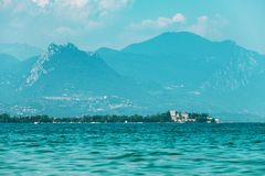 View on  Garda Lake, Italy, low visibility, Stock Image
