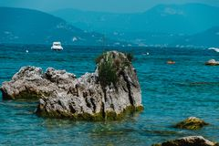 View of Garda Lake, Italy, low visibility, Royalty Free Stock Images