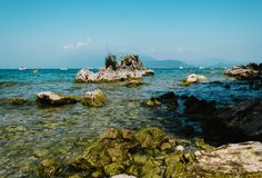 View on  Garda Lake, Italy, low visibility, Royalty Free Stock Photography