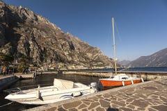 View of Garda lake at Limone sul Garda royalty free stock image