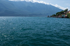 View of Garda Lake, from Limone sul Garda, Brescia, Italy Royalty Free Stock Image