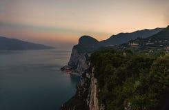 View on the Garda Lake, sunset, high iso Royalty Free Stock Photo