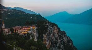 View on the Garda Lake, sunset, high iso Royalty Free Stock Images