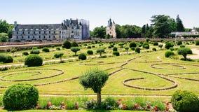 View of garden of castle Chateau de Chenonceau. CHENONCEAUX, FRANCE - JULY 8, 2010: view of garden of castle Chateau de Chenonceau. The current palace was built stock images