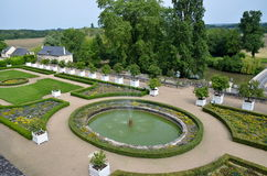 View on the garden, fountains and the river, Usse castle in Loire Valley, France. Stock Images