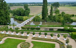 View on the garden, fountains and the river, Usse castle in Loire Valley, France. Stock Image