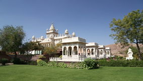 View on garden by Jaswant Thada temple in Jodhpur. stock video