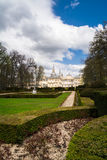 View from garden of La Granja de San Ildefonso, Spain Stock Image