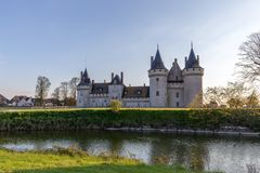 Scenic View Over The Lake of Chateau de Sully-sur-Loire, France stock photos