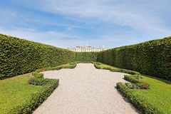 View from garden over hedge to Rundale palace Stock Image