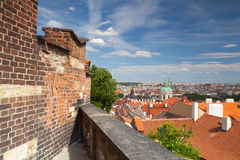 View from Garden of Paradise on Prague city. Stock Photography