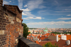 View from Garden of Paradise on Prague city. Royalty Free Stock Photography