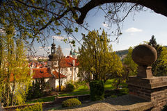 View from Garden of Paradise on spring Prague Royalty Free Stock Image