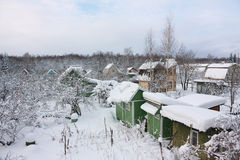View of garden plots in winter Royalty Free Stock Images