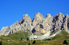 View of Gardena Pass in dolomite mountain Stock Photos