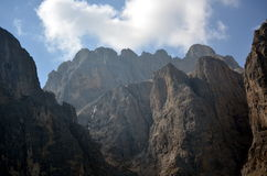 View of Gardena Pass in dolomite mountain Stock Images