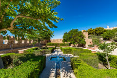 View of gardens in the Almeria (Almería) castle (Alcazaba of Almeria) Stock Photography