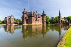 View of the gardens and the exterior of the De Haar Castle royalty free stock photo