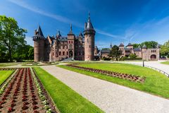 View of the gardens and the exterior of the De Haar Castle stock photo