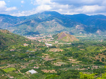 View of gardens and Francavilla di Sicilia town Royalty Free Stock Photography