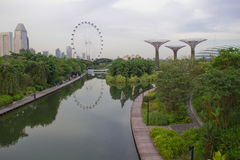 View on Gardens by Marina. View on green Gardens by Marina and Singapore flyer Royalty Free Stock Photo