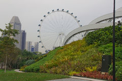 View on Gardens by Marina. And Singapore flyer Royalty Free Stock Photography