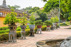 View of Gardens and Vases at the Imperial City of Hue Royalty Free Stock Photography