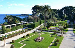 View on the gardens on villa Rothschild, French Riviera, France Royalty Free Stock Images