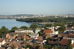 View from Gardos Hill - Zemun at Belgrade. View from Zemun Gardos Hill. Zemun in the foreground. Sava river in the middle, beach and cityscape in the back Stock Images