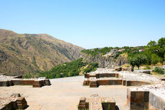 View from Garni temple. In  Armenia. Garni architectural complex established in 3rd century BC. The structures of Garni combine elements of Hellenistic and Stock Photos