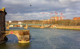 View of the Garonne river in Toulouse - France Stock Photos