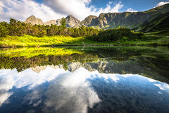 View of the Gasienicowa valley and the Zielony Staw lake in Tatr. A mountains Stock Photos
