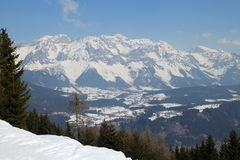 View from Gasselhohe to Dachstein group mountains Royalty Free Stock Photos