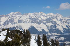 View from Gasselhohe to Dachstein group mountains Stock Photo