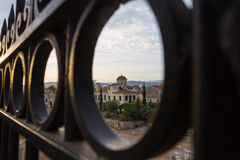 View through gate of Church behind Roman Agora in Athens, Greece Royalty Free Stock Image