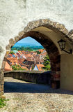 View through the gate from Hagenbach Tower Stock Photos