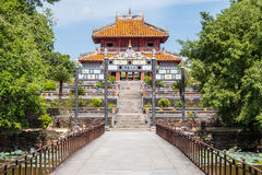 View of gate and pavilion in Imperial Minh Mang Tomb in  Hue Stock Image