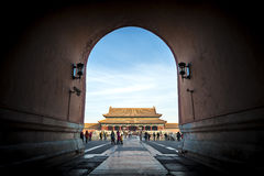 View of the Gate of Supreme Harmony from beneath the Meridian Gate at the Forbidden City, Beijing Stock Photography