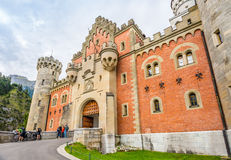 View at the gate to Neuschwanstein castle. Stock Photos