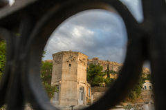 View through gate of Tower of the Wind-gods in Roman Forum and A Royalty Free Stock Image