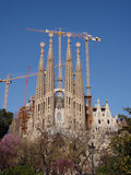 View of Gaudi's Cathedral. Gaudi's Cathedral in Barcelona, Spain Royalty Free Stock Photo