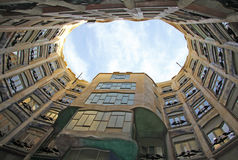 View of Gaudi`s house Casa Mila from the courtyard, Barcelona, Spain Royalty Free Stock Images