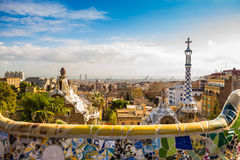 View of Gaudi style church top Royalty Free Stock Photography