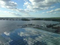 View from Gaylord of Woodrow Wilson bridge in national harbor. This shows the bridge from the 19th floor of the Gaylord hotel Stock Image