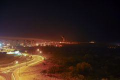 View of Gaza from Israel. View of Gaza from Ashkelon, Israel at night. Ashkelon is located only 13km from Gaza and within rocket attack range stock photography