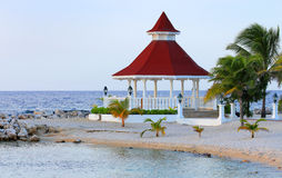 View of gazebo on the beach for weddings Stock Photos