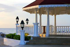 View of gazebo on the beach for weddings Stock Images